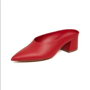 Vince Ralston Leather Mules Red 11